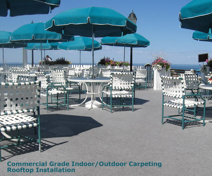 Commercial outdoor carpeting installed on the roof of the Monmouth Beach Club