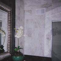 White Marble Walls in Residential Bath