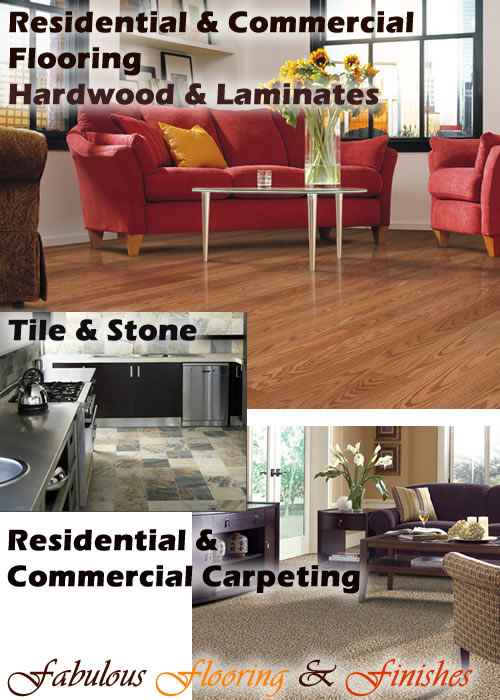 Residential and Commercial flooring, hardwood, laminates, carpeting, tile and stone.  Your Solution for Fabulous Flooring and Finishes